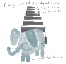Pushing an elephant up the stairs!