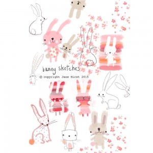 Jane Hirst Illustration bunny sketches