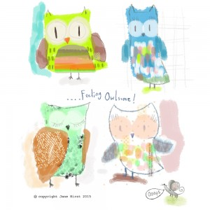 Jane Hirst Illustration feeling owlsome