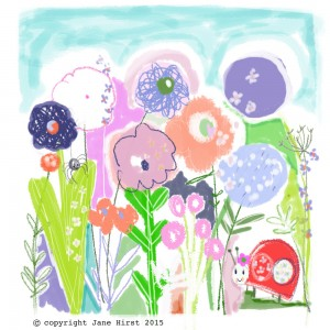 Jane Hirst Illustration flowers with ladybird spider