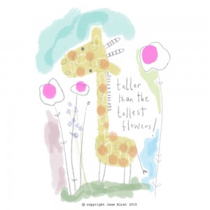 Jane Hirst Illustration giraffe taller than the tallest flowers