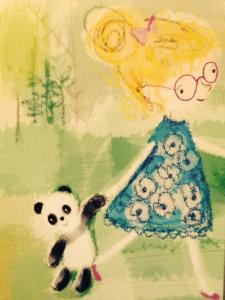 panda and girl