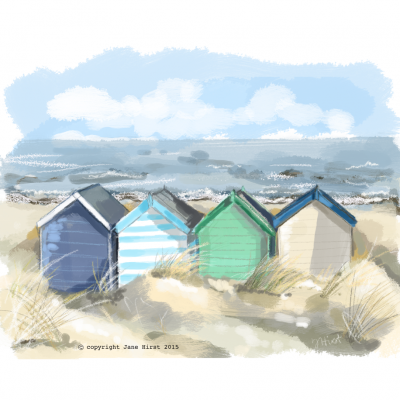 Beach Huts, Shelter and Illustration Friday.