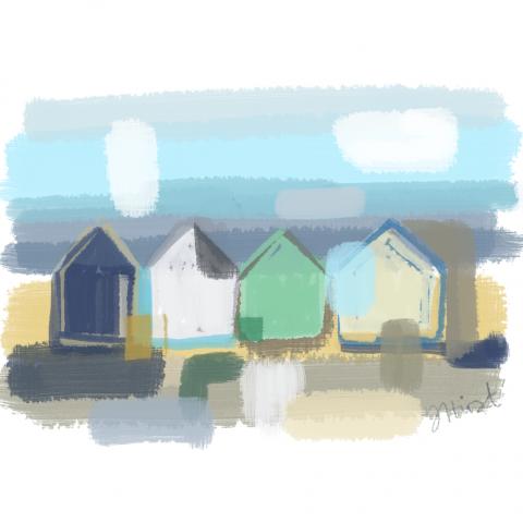 Beach Huts Abstract 1