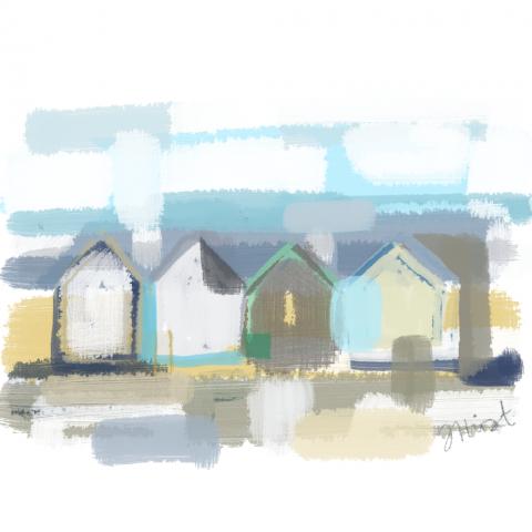 Beach Huts Abstract 2