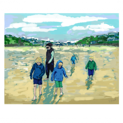Polzeath Beach: Digital Artwork on Canvas