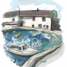 Illustration Friday, Village and my village pub!