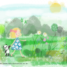 Illustration Friday, Childhood and the girl with her Panda!