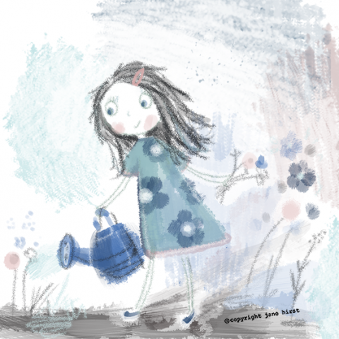 Girl and watering can!