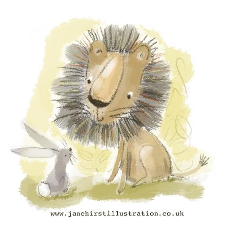 Lion and rabbit