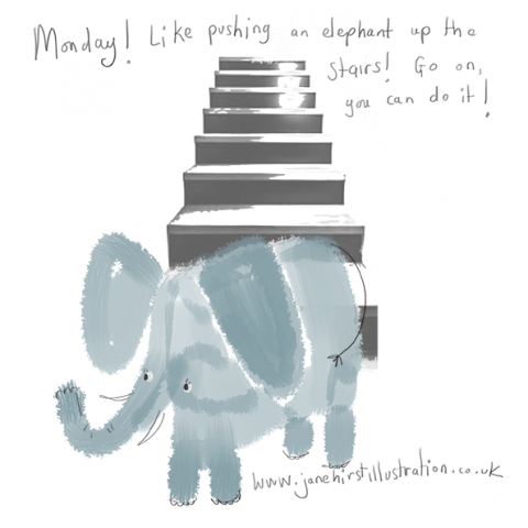 Pushing an elephant up the stairs