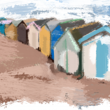 Beach Huts at Teignmouth, Devon.
