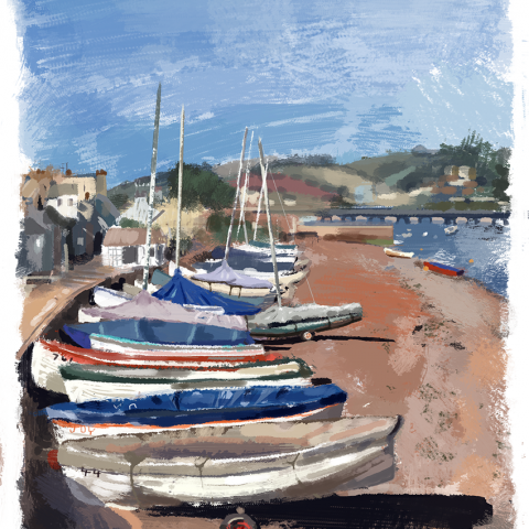 Shaldon, boats in winter sunshine!